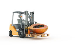 Modern forklift truck with papaya Royalty Free Stock Photography