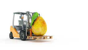 Modern forklift truck with pear Stock Images