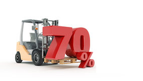 Modern forklift truck with 70 percent Royalty Free Stock Photography