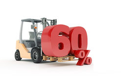 Modern forklift truck with 60 percent Royalty Free Stock Photos