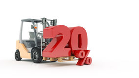 Modern forklift truck with 20 percent Stock Photos