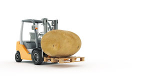 Modern forklift truck with potato Stock Photo