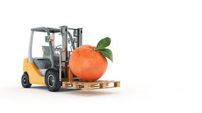Modern forklift truck with tangerine Royalty Free Stock Images