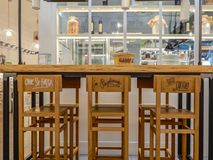 Modern forniture in a bar and restaurant in Genoa Genova, Italy. royalty free stock photo