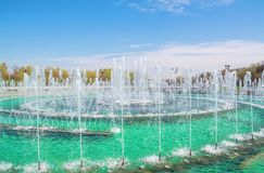 Modern fountain. Beautiful modern fountain in the city park Royalty Free Stock Image
