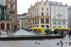 Modern fountain at the market square in Krakow Stock Photography