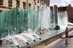 The modern fountain on the Market square in Wroclaw, Poland Stock Photo