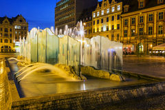 Modern fountain, old Market Square in Wroclaw royalty free stock photo