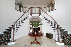 Modern foyer with double staircase Royalty Free Stock Image