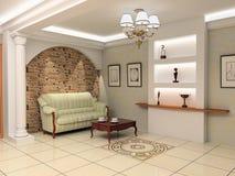 Modern foyer interior. Modern interior design (privat apartment foyer 3d rendering vector illustration