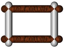 Modern frame. 3d generated modern frame made from steel and wooden parts, with place for text in the center Stock Image