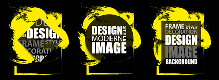 Modern frame for text. Dynamic yellow design elements. Vector Royalty Free Stock Image