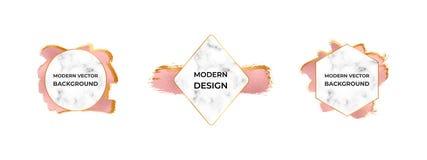 Modern frames with marble texture on the rose gold foil brush stroke texture. Design for wedding invitation, banner, card stock illustration