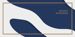 Modern freeform abstract paper cut layer background banner navy. Blue and white color vector. Background concept Royalty Free Stock Photos