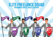 Modern freelance squad design concept Royalty Free Stock Images