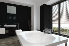 Modern freestanding white bathtub Stock Photo