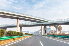 Modern freeways with highway overpass Stock Photos