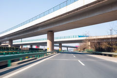 Modern freeways with overpass Stock Photo