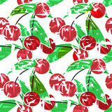 Modern fresh seamless pattern with cherries. Repeating bright  Royalty Free Stock Photos