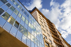 Modern fronted building. Prospective view to new building Royalty Free Stock Photos