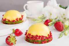 Modern fruit mousse cakes Stock Photography