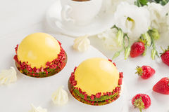 Modern fruit mousse cakes Royalty Free Stock Image