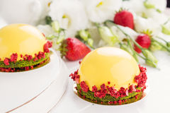 Modern fruit mousse cakes Stock Image