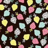 Modern fruit seamless pattern. Background with strawberry. Great for kids fabric, textile, etc. Vector Illustration Royalty Free Stock Photography