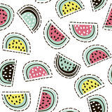 Modern fruit seamless pattern. Background with watermelon. Great for kids fabric, textile, etc. Vector Illustration. Stock Images