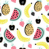 Modern fruit seamless pattern. Great for kids fabric, textile, etc. Vector Illustration. Stock Photography