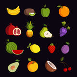Modern fruit vector icon set Royalty Free Stock Images