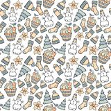 Modern funny color seamless holiday pattern. Hand drawing vector Stock Photography