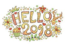 Modern funny lettering Hello 2018. Hand color drawing ornament l. Etters with design elements isolated on white. New Year vector cartoon theme with forest deer Royalty Free Stock Photos