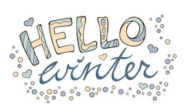 Modern funny lettering Hello winter. Stock Photos
