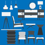 Modern furniture and Home Accessories. Living room set. Furniture  can be used in website, pages, and magazine Royalty Free Stock Photo