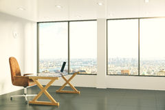 Modern Furniture Photography loft style office with modern furniture and city view stock