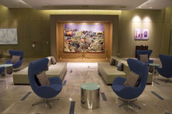 Modern furniture in luxury hotel lobby. Beautiful modern furniture in the lobby of samsung hotel Geoje, South Korea. Sumsung Heavy industries is located right Stock Image