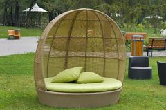 Modern furniture rattan wicker sofa outdoor Royalty Free Stock Photos