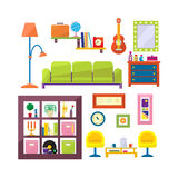 Modern furniture set in flat style vector Stock Images