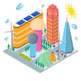 Modern Future Building Eco Concept Isometric View. Vector Stock Image