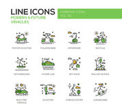 Modern and Future Vehicle - line design icons set Royalty Free Stock Photo