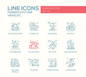Modern and Future Vehicle - line design icons set Stock Images
