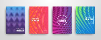 Modern futuristic abstract geometric covers set. Minimal colorful trendy templates design. Cool gradient shapes. Poster background composition. Vector Stock Photography