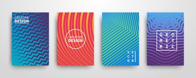 Modern futuristic abstract geometric covers set. Minimal colorful trendy templates design. Cool gradient shapes. Poster background composition. Vector stock illustration