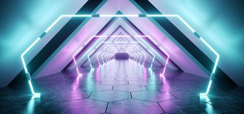 Modern Futuristic Alien Reflective Concrete Corridor Tunnel Empty Room With Purple And Blue Neon Glowing Lights Background. Hexagon Floor 3D Rendering stock illustration