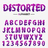 Modern futuristic alphabet, Distorted letters and numbers, abstract font typography. vector. Modern futuristic alphabet, Distorted letters and numbers, abstract stock illustration