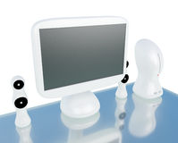 Modern, futuristic computer with LCD monitor Stock Image