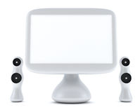 Modern, futuristic computer with LCD monitor. And speakers on glass table isolated on white Royalty Free Stock Image