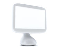 Modern, futuristic computer with LCD monitor. And speakers on glass table isolated on white Royalty Free Stock Photography