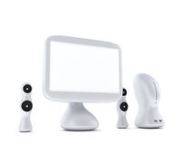 Modern, futuristic computer with monitor and speakers. Modern, futuristic computer with LCD monitor LCD display panel and speakers  on white background Royalty Free Stock Photo